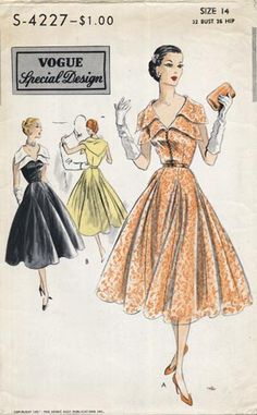 Vogue S-4227 50s dress pattern fashion style full skirt black yellow pale orange beige cocktail
