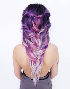 Beautiful Hairstyles For Puprle Hair. Purple hair color variations surprise us w… Beautiful Hairstyles For Puprle Hair. Purple hair color variations surprise us with their numerousness and versatility. And taking into account the in Violet Hair Colors, Hair Color Purple, Cool Hair Color, Pastel Colours, Purple Ombre, Dark Purple, Trendy Hairstyles, Beautiful Hairstyles, Braided Hairstyles
