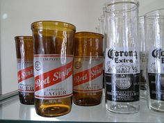 drinking glasses made from old beer bottles