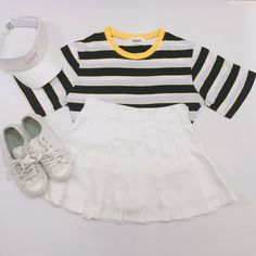 Korean Fashion Sets- Hot Summer Look      Striped T-shirt, Denim Jeans and White Sneakers, Black Cap.      Striped T-shirt, Ripped short...