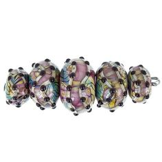 Stunning Handmade Purple with Black Dots Lampwork Bead set by Grace Lampwork