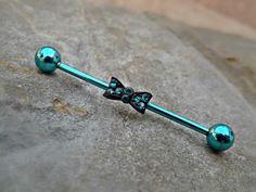 Bow Blue Industrial Barbell 14ga Body Jewelry Ear Jewelry Double Piercing Rhinestone