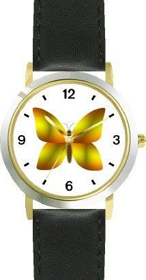 Golden & Marigold Butterfly - JP Animal - WATCHBUDDY® DELUXE TWO-TONE THEME WATCH - Arabic Numbers - Black Leather Strap-Size-Children's Size-Small ( Boy's Size & Girl's Size ) WatchBuddy. $49.95