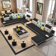 Luxury Modern U Shaped Leather Fabric Corner Sectional Sofa Set Design Couches For Living Room With Ottoman Corner Sofa Design, Sofa Bed Design, Living Room Sofa Design, Home Room Design, Living Room Designs, Furniture Bed Design, Sofa For Living Room, Furniture Sofa Set, Corner Sectional Sofa
