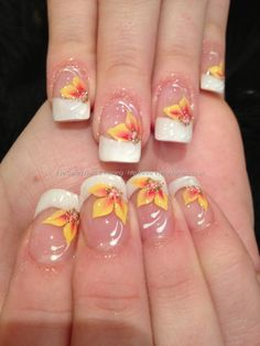 White tips with yellow and orange one stroke flower freehand nail art