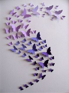11x14 Ombre Purple 3D Butterfly Art or YOUR by aboundingtreasures