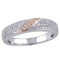 A delicate yet sturdy band consisting of micropave set white diamonds in 14k white gold, split in two by a stylish streak of rare, natural pink diamonds set in rich rose gold, make this ring trendy and traditional at the same time.
