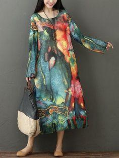 Elegant Print Women Maxi Dresses