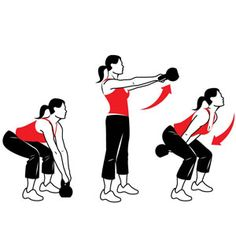 Kettlebell Swing  Works shoulders, back, hips, glutes, inner thighs, and hamstrings     Grab a kettlebell with both hands and stand with your feet shoulder-width apart. Squat down until your thighs are nearly parallel to the floor. Then immediately stand back up, swinging the kettlebell out and up until it's at shoulder height. As the kettlebell begins to arc back down, bend your knees and squat, swinging the kettlebell between your legs. That's 1 rep; continue swinging for 10.