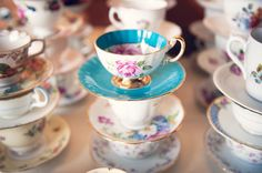 Vintage coffee cups and saucers for the coffee service