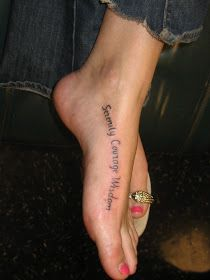 Serenity, Courage, Wisdom, Foot Tattoo