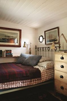 """Wood panelling is painted white in this small [link url=""""""""]bedroom[/link] belonging to [link url=""""""""]Plain English[/link] founder Katie Fontana. The gingham bedspread and red throw lend a warm and cosy feel to the room. Small Bedroom Designs, Small Room Design, Small Room Bedroom, Bedroom Sets, Bed Design, Bed Room, Small Rooms, Hall Design, Cosy Home"""