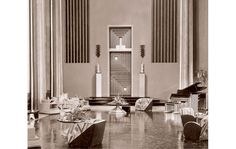 Art director Cedric Gibbons's sets captured the Moderne glamour of the 1920s and '30s in films such as The Single Standard (1929), starring Greta Garbo. One of the first to abandon painted backdrops, Gibbons created a vast space for Garbo's character's sleek grand salon.    SLIDES 1, 2, 10-13: Courtesy Academy of Motion Picture  http://www.architecturaldigest.com/decor/2010-03/design_hollywood_slideshow#slide=1