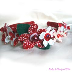 Flower Headband Red and White Flower Crown by CraftyJoDesigns