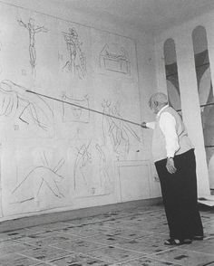 "Matisse drawing the Stations of the Cross with a bambu pole in the interior of the Chapelle de Rosaire at Vence. ""Drawing is like making an expressive gesture with the advantage of permanence."" (Matisse)."