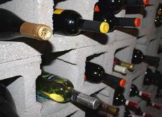 DIY wine storage with cinder blocks