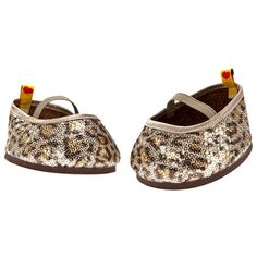 Teddy bear size leopard-print flats with all-over sequins. Baby Girl Toys, Toys For Girls, Cheetah Print Wedding, Build A Bear Outfits, Leopard Print Flats, Online Gift Shop, Baby Alive, Mom Daughter, Doll Crafts