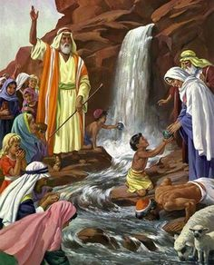 Jesus is our rock and living water Bible Photos, Bible Pictures, Religious Pictures, Religious Art, Bible Crafts, Bible Art, Bible Illustrations, Moise, Prophetic Art