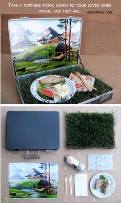Briefcase to portable picnic!DIY take an old briefcase and turn it into a picnic. Craft Projects, Projects To Try, Craft Ideas, Diy And Crafts, Arts And Crafts, Diy Cadeau, Diy Gifts, Handmade Gifts, Crafty