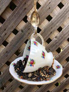 Garden Bird Feeders, Garden Club, Silver Spoons, Perfect Gift For Her, Garden Gifts, Garden Ornaments, Upcycled Vintage, Teacup, Bird Houses