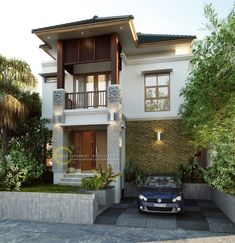 Tomo Private House - Denpasar, Bali- Quality house design of architectural services, experienced professional Bali Villa Tropical designs from Emporio Architect. Bali House, Modern House Facades, Modern House Design, Indian Architecture, Architecture Design, Kerala Houses, Denpasar, House Elevation, Cottage Design