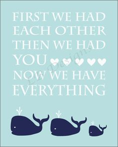 <3 Navy Blue and Baby Blue Whale Nursery Quote Print  by LJBrodock. , via Etsy.