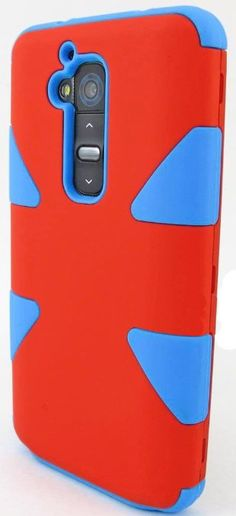 myLife Pin-up Red/Ocean Blue {Dual-Colored Hard Shell Design} 3 Piece Neo Hybrid Case for the for the LG G2 Smartphone (External Rubberized ...