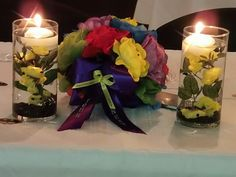 Toss bouquet, had all the colors of all the superheroes that were in the wedding party!!
