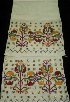'Uçkur' (sash / waist band) with embroidered ends. Small Tapestry, Crewel Embroidery, Cross Stitch Flowers, Paper Design, Persian Carpet, Knitting Patterns, Diy And Crafts, Quilts, Antiques