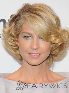 Sleek Katharine McPhee Hairstyle Short Wavy Full Lace Human Wigs