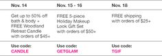 **Avon's Promotions for the Week of 11/14-11/18/16** Monday, November 14: Get up to 50% Off Bath & Body and a FREE Woodland Retreat Candle with your order of $45 or more, Use Code: CANDLE. Tuesday & Wednesday, November 15-16: FREE 6-piece Holiday Makeup Look Gift Set with your order of $50 or more, Use Code: GETGLAM. Friday, November 18: Get FREE Shipping with your order of $25 or more, Use Code: TGIF. #AvonPromotions #AvonSale #Avon #AvonRep
