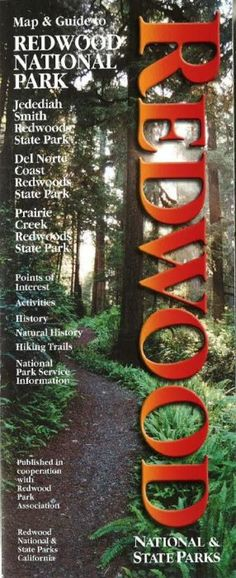 Folded map of Redwood Natl and State Parks including Redwood, Jedediah Smith, Del Norte Coast, and Prairie Creek. Features photographs and a highway map. Includes: Points of Interest Activities Histor