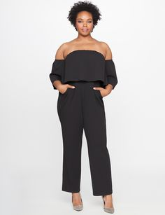 Off the Shoulder Ruffle Overlay Jumpsuit | Women's Plus Size Dresses | ELOQUII