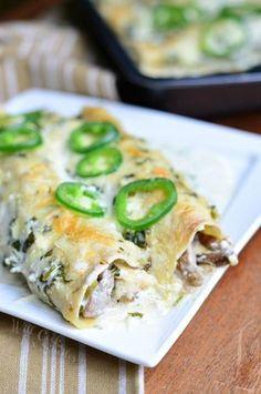Steak Enchiladas with Jalapeño Cilantro Cream Sauce | from willcookforsmiles.com