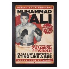 This Art Effects Muhammad Ali Vintage Framed Wall Art features a vintage poster promoting Muhammad Ali. It comes in a brown polystyrene frame for a. Vintage Frames, Vintage Posters, Muhammad Ali Quotes, Sting Like A Bee, Champions Of The World, Float Like A Butterfly, Boxing Quotes, Framed Wall Art, Childhood Memories