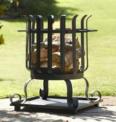 Outdoor log burners and fire pits for the patio. Iron Fire Pit, Fire Pits, Metal Roses, Fire Basket, Log Burner, Metal Projects, Blacksmithing, Rocking Chair, Wrought Iron