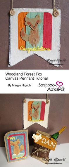 """Canvas Pennant """"congratulations"""" featuring #Spellbinders Woodland Fox, part of a 3 piece set perfect for fall or rustic decor or gift! @ilscraps has tutorials for the pennant and card on the #SBAdhesivesby3L blog."""