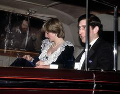 Diana And Charles: The Prince and Princess of Wales arrive in Downing Street for a dinner with the Prime Minister, December 1982. Diana wears a lace and velvet gown by Bellville Sassoon. (Photo by Jayne Fincher/Princess Diana Archive/Getty Images)