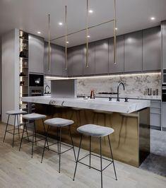 42 Stunning Modern Contemporary Kitchen Cabinet Design - Page 2 of 31 - KitchenRemodel. Home Decor Kitchen, New Kitchen, Home Kitchens, Kitchen Ideas, Kitchen Modern, Awesome Kitchen, Kitchen Tile, Minimalist Kitchen, Kitchen Layout
