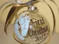 "Personalized Baby Christmas Ornaments - Large 4"" Round. $9.00, via Etsy."