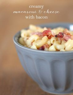 Creamy bacon macaroni and cheese - heavenly, cheesy and easy! Click for the secret to creaminess! www.julieblanner.com