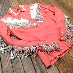 lovely vintage western shirt with leather fringing and embellishment