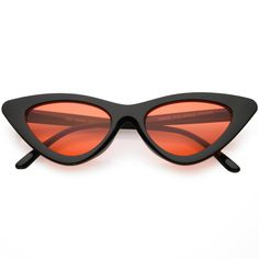 04c876a5d2f Womens Exaggerated Slim Black Frame Cat Eye Sunglasses Color Tinted Lens  48mm