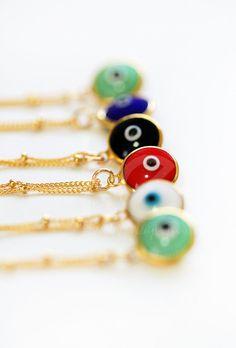 light blue evil eye necklace por keijewelry en Etsy