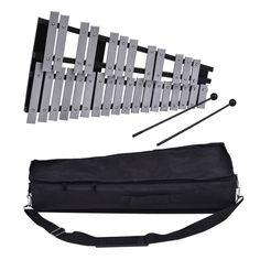 Foldable 30 Note Glockenspiel Xylophone Wooden Frame Aluminum Bars #Unbranded