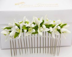 1 pcs HANDMADE White Wedding Hair Comb Snowdrop flowers romantic women gift wedding Hair Bridal Hair Floral Hair Comb Rustic wedding >>> Find out more about the great product at the image link. Rustic Wedding Flowers, Flower Headpiece, Wedding Hair Flowers, Hair Comb Wedding, Wedding Hair Pieces, Bridal Flowers, Flowers In Hair, Bridal Comb, Polymer Clay Flowers