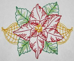 Poinsettia color work machine embroidery by CocobeanBoutique, $3.50 Applique Designs, Poinsettia, All Design, Machine Embroidery, I Shop, Patches, Artwork, How To Make, Etsy