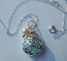 Aqua Filigree Round Locket Jewelry  by bridalbellejewelry on Etsy, $22.00