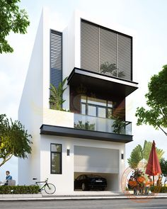 Ideas For Design House Front Modern Architecture Modern Bungalow Exterior, Bungalow House Design, House Front Design, Modern House Design, Modern Townhouse, Townhouse Designs, Modern Architecture House, Concept Architecture, Architecture Design