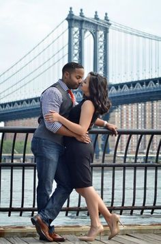 Femme Noire Photography Engagement Shoot in Dumbo near Brooklyn Bridge Robin & Christina
